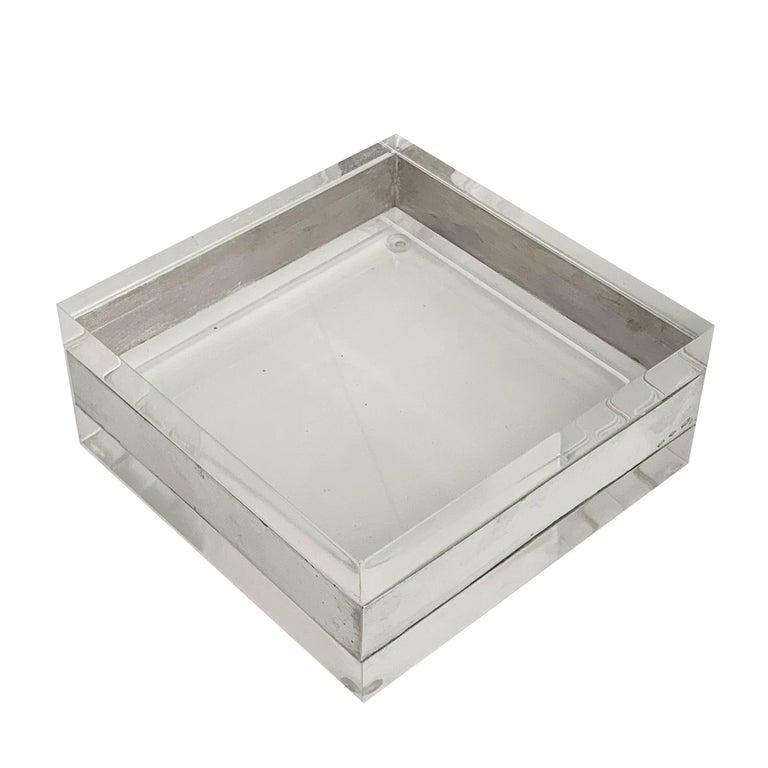 Lucite and Silver Squared Italian Decorative Box, 1970s For Sale 3