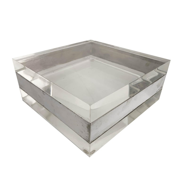 Lucite and Silver Squared Italian Decorative Box, 1970s For Sale 5