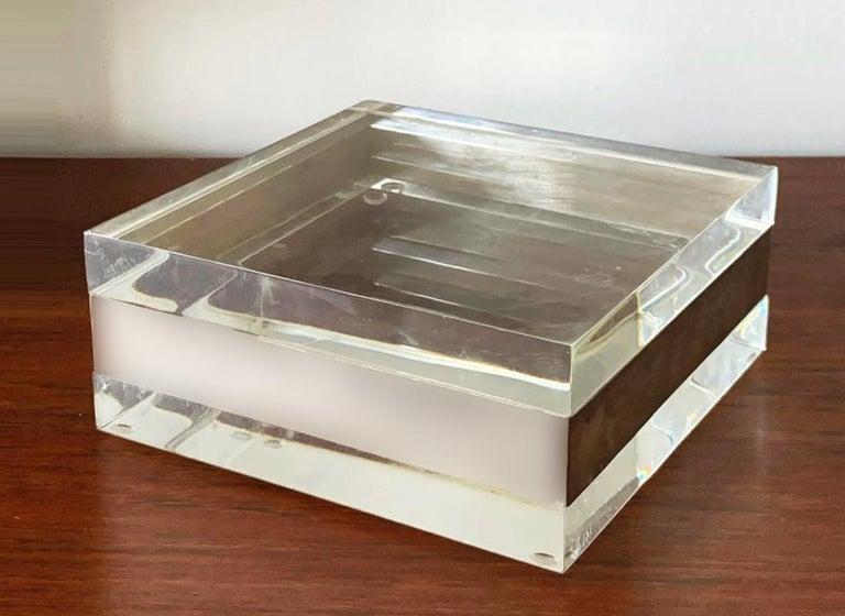 Lucite and Silver Squared Italian Decorative Box, 1970s For Sale 4