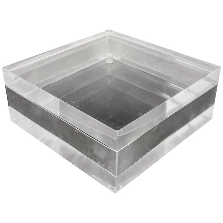 Lucite and Silver Squared Italian Decorative Box, 1970s For Sale