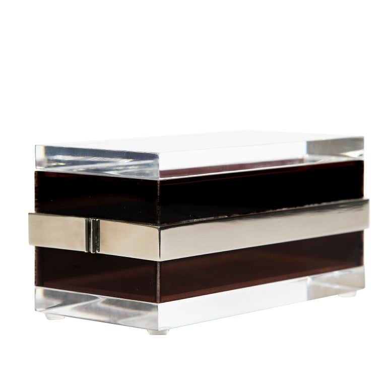 Late 20th Century Lucite and Steel Box in the Style of Gabriella Crespi, Italy, 1970 For Sale