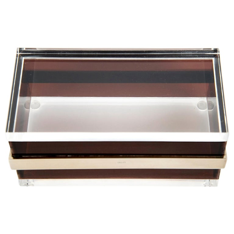Lucite and Steel Box in the Style of Gabriella Crespi, Italy, 1970 For Sale
