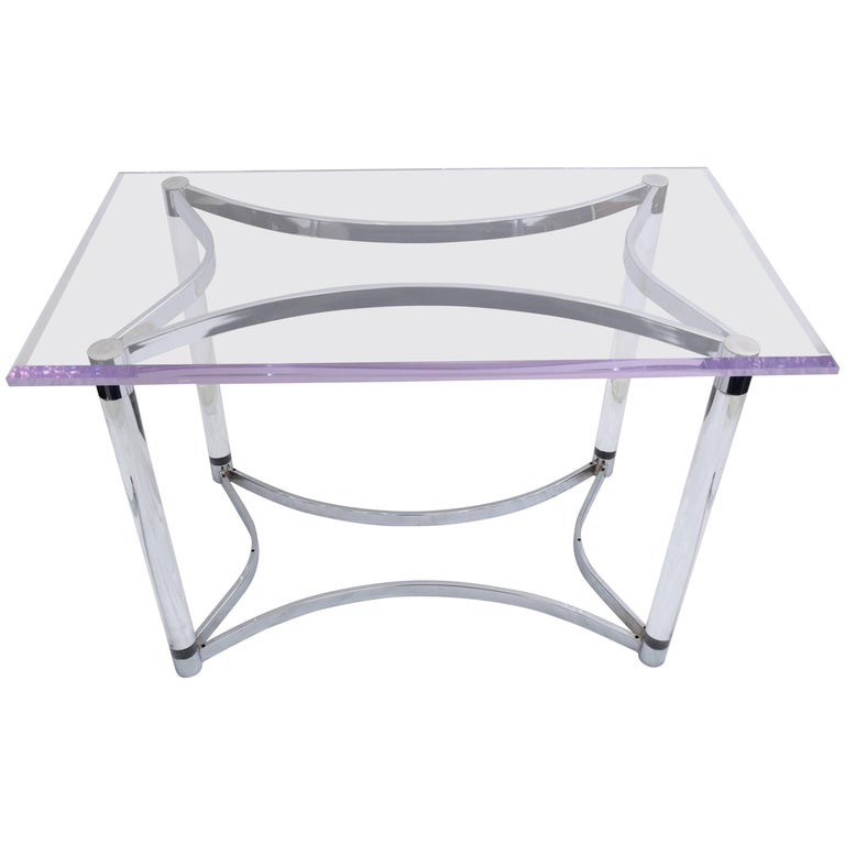 Lucite and Steel Console Table or Table Base For Sale