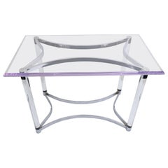 Lucite and Steel Writing Table or Desk in the Style of Charles Hollis Jones