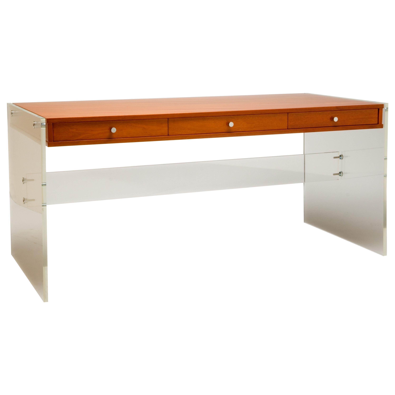 Lucite and Walnut floating Desk