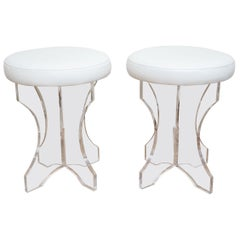Lucite and White Vinyl Upholstered Vanity Stools Pair of 80's