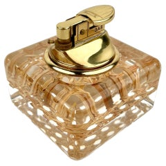 Lucite and Wicker Table Lighter Christian Dior Style, Italy, 1970s