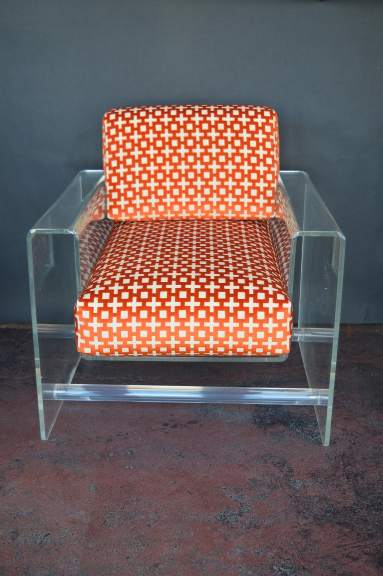 American Lucite Armchair with Ottoman For Sale