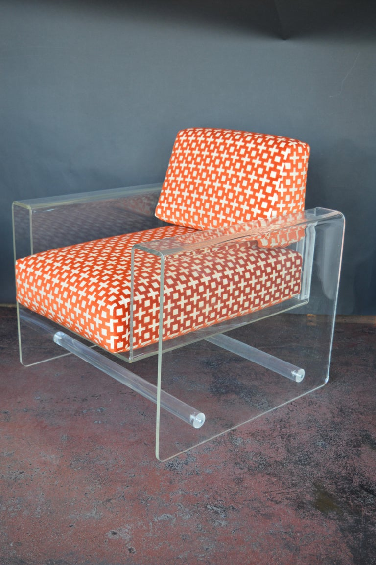 Lucite Armchair with Ottoman In Good Condition For Sale In Los Angeles, CA