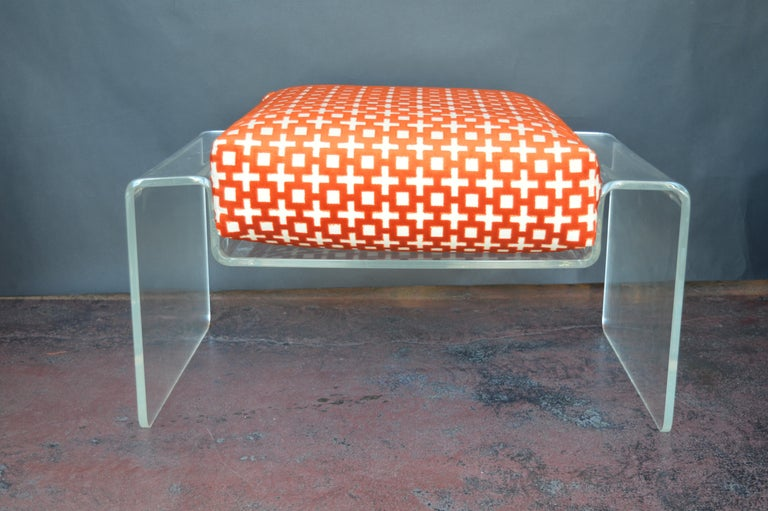 Lucite Armchair with Ottoman For Sale 2