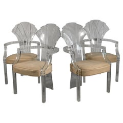 Lucite Art Deco Grotto Shell Back Chairs, Set of 4