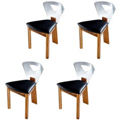 Lucite Back Zebra Wood Dining Chairs, Vintage Modern with New Black Vinyl
