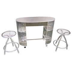 Lucite Bar, 2 Stools and Original Drink Glasses and Ice Bucket