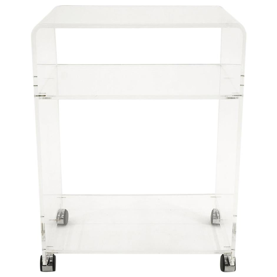 Lucite Bar / Serving Cart on Chrome Casters, 1970s