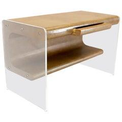 Lucite Base Faux Snake Skin Sculptural Shape One-Drawer Writing Table Desk