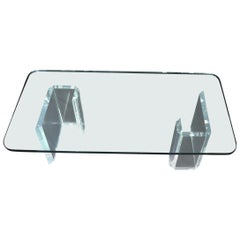 Lucite Base Glass Top Compact Rectangular Coffee Table