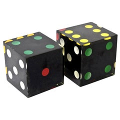 Lucite Black, Red, Green, Yellow and White Sculptural Dice French Vintage