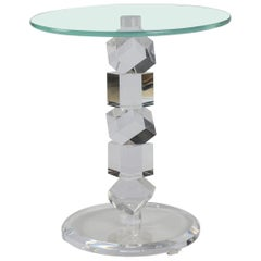 Lucite Block and Glass Occasional Table
