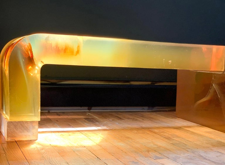 Mid-Century Modern Modern Lucite Block Coffee Table  Argo Sculpture Gary Gutterman for Axius 1977  For Sale