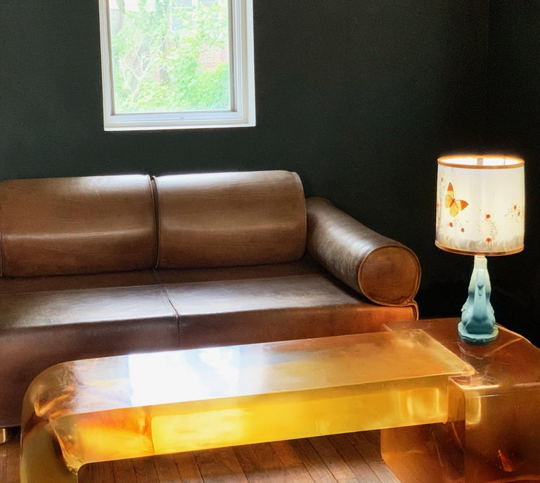 Modern Lucite Block Coffee Table  Argo Sculpture Gary Gutterman for Axius 1977  In Good Condition For Sale In Brooklyn, NY