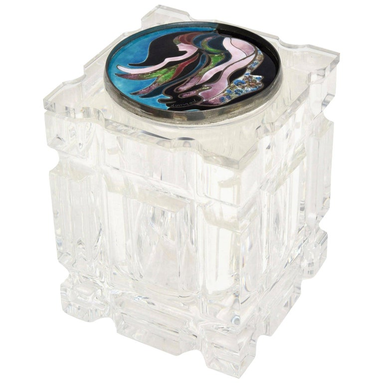 Lucite Box with Foiled Enameled Cloisonné Abstract Top Signed Vintage For Sale