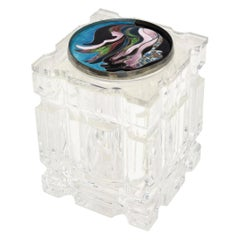 Lucite Box with Foiled Enameled Cloisonné Abstract Top Signed Vintage