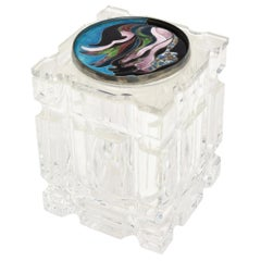 Lucite Box with Signed Foiled Enameled Cloisonné Abstract Top Vintage