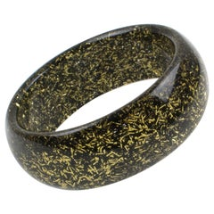 Lucite Bracelet Bangle Black and Gold Metallic Thread