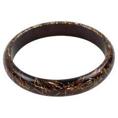 Lucite Bracelet Bangle Copper Silver Metallic Thread