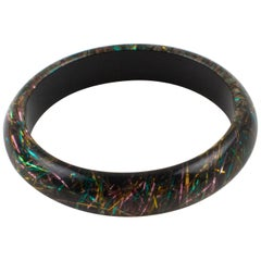 Lucite Bracelet Bangle Multicolor Metallic Thread Inclusions