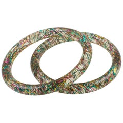 Lucite Bracelet Bangle Multicolor Metallic Thread Inclusions, set of 2 pieces