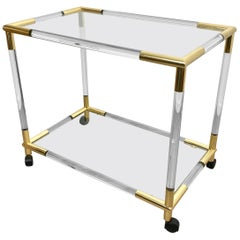 Lucite, Brass and Glass Bar Serving Cart Trolley, Italy, 1970s