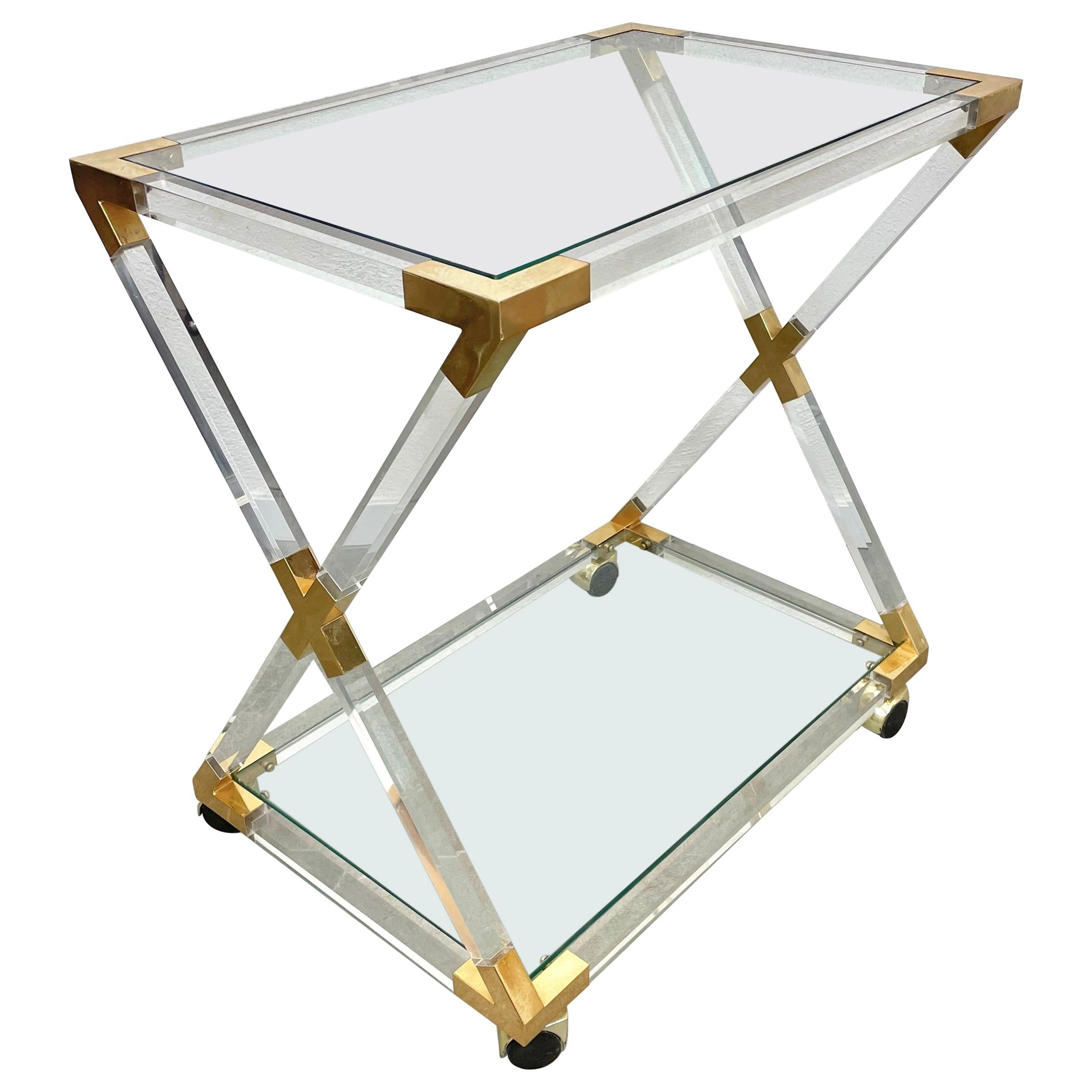 Lucite Brass and Glass Serving Cart Charles Hollis Jones Style, Italy, 1970s