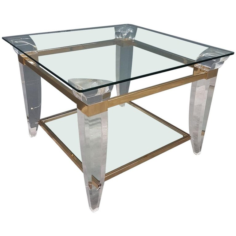 Lucite, Brass And Glass Square Coffee Table Or Side Table