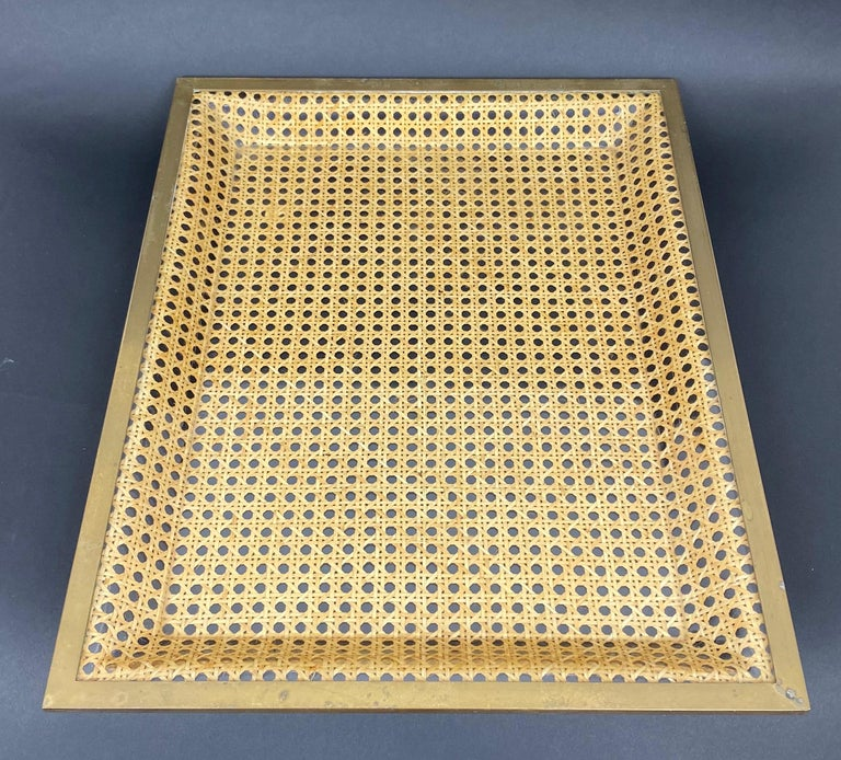Mid-Century Modern Lucite, Brass and Wicker Serving Tray Christian Dior Style, France, 1970s For Sale