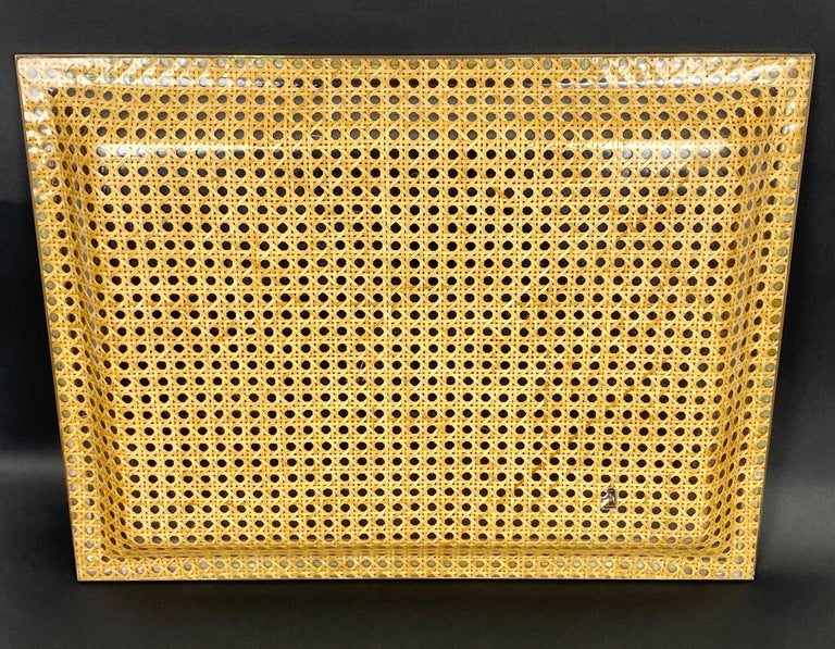 Late 20th Century Lucite, Brass and Wicker Serving Tray Christian Dior Style, France, 1970s For Sale