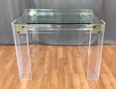 Lucite and Brass Backgammon Game Table in the Manner of Charles Jones