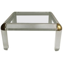 Lucite Brass Coffee Table Karl Springer Style, Italy, 1970s