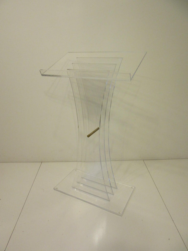 Modern Lucite Brass/ Lectern Podium/ Hostess Stand in the Style of Charles Hollis Jones For Sale