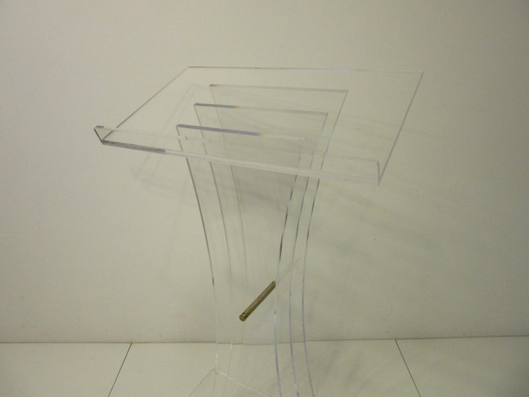 American Lucite Brass/ Lectern Podium/ Hostess Stand in the Style of Charles Hollis Jones For Sale