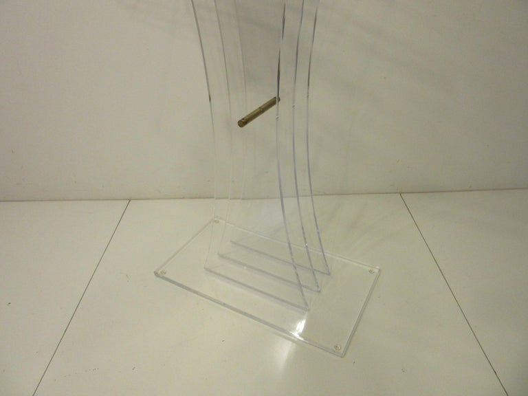 Lucite Brass/ Lectern Podium/ Hostess Stand in the Style of Charles Hollis Jones In Good Condition For Sale In Cincinnati, OH