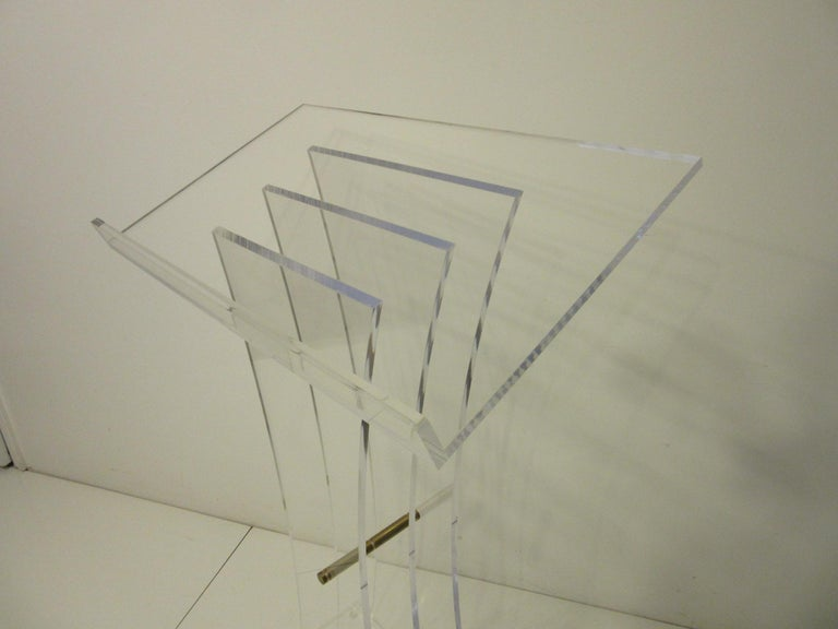 20th Century Lucite Brass/ Lectern Podium/ Hostess Stand in the Style of Charles Hollis Jones For Sale