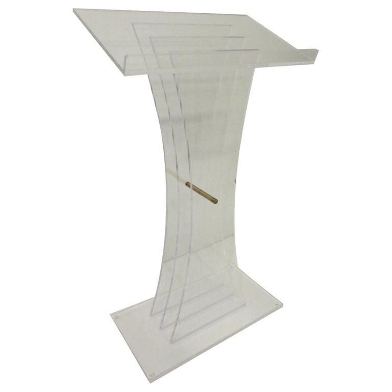 Lucite Brass/ Lectern Podium/ Hostess Stand in the Style of Charles Hollis Jones For Sale
