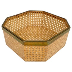 Lucite & Brass Octagonal Centerpiece Basket Christian Dior Style, France, 1970s