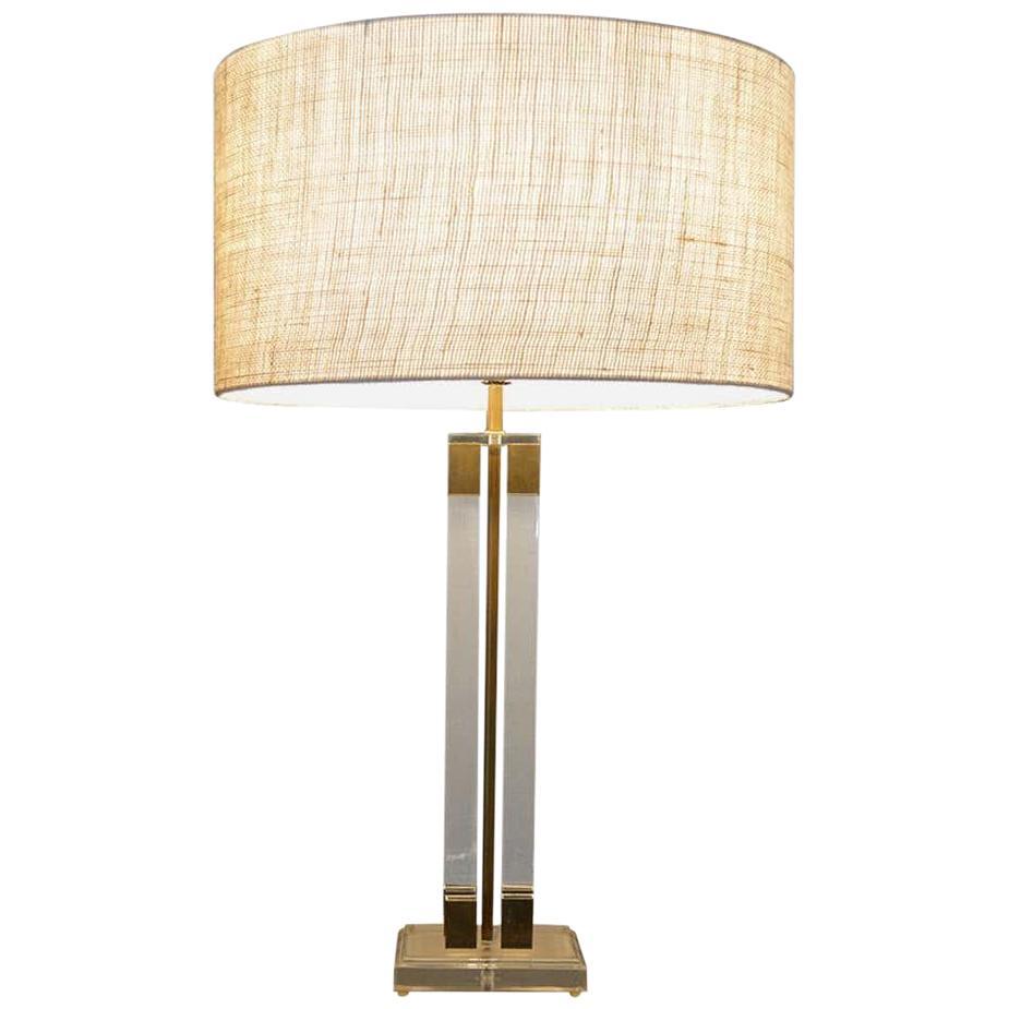 Lucite Brass Table Lamp Modern Regency Style of Charles Hollis Jones