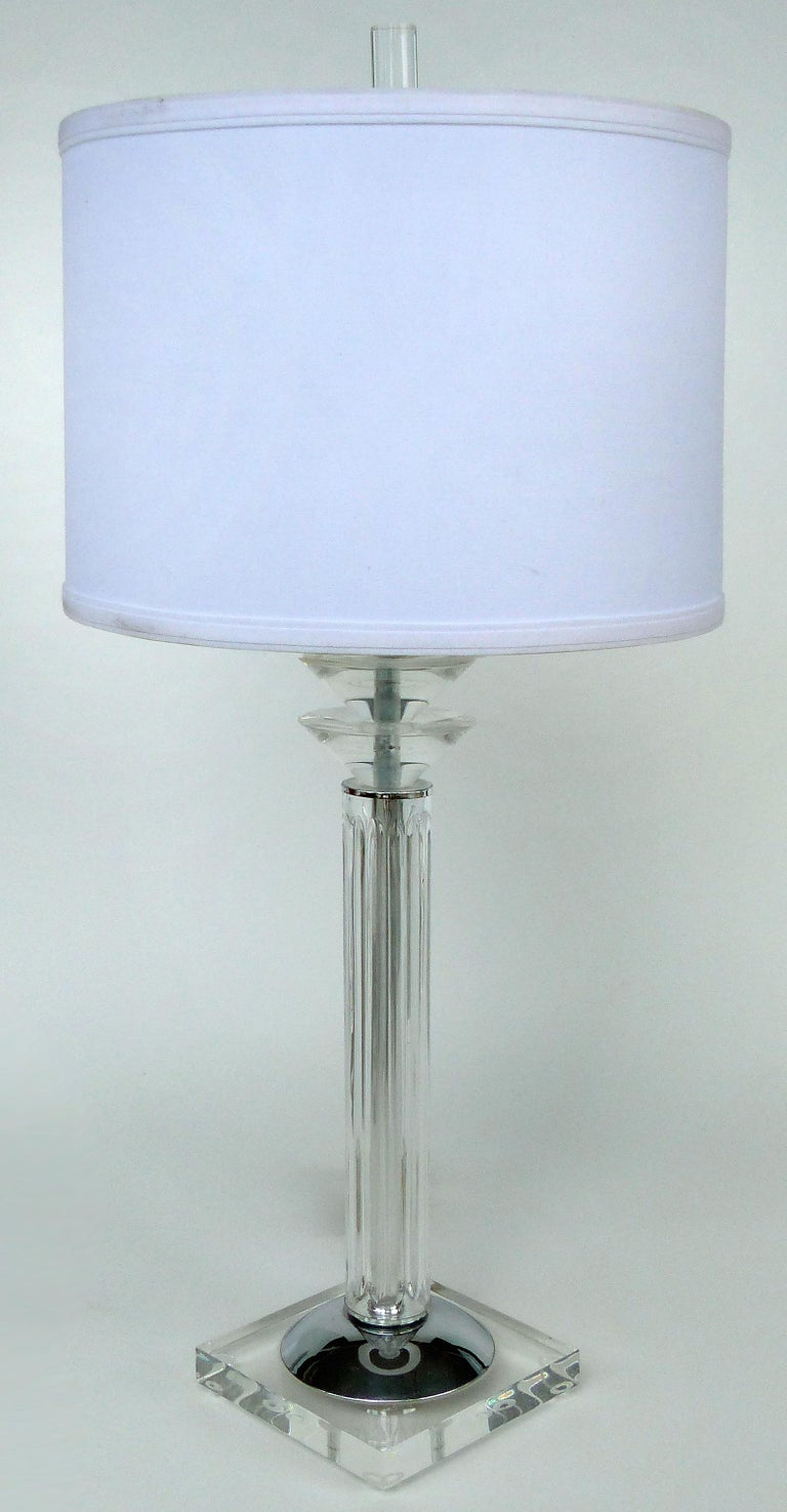 Bauer Lamp Company Lucite, Chrome and Glass Table Lamps, 1993 For Sale 4
