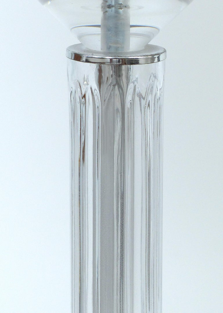 Mid-Century Modern Bauer Lamp Company Lucite, Chrome and Glass Table Lamps, 1993 For Sale
