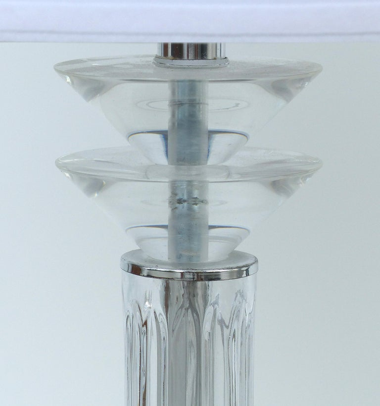 American Bauer Lamp Company Lucite, Chrome and Glass Table Lamps, 1993 For Sale