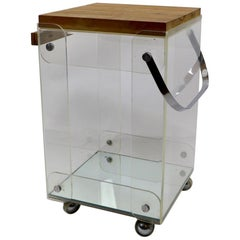 Lucite Chrome and Wood Serving Cart