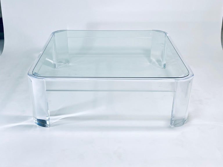 Glass Lucite Coffee Table by Les Prismatiques For Sale